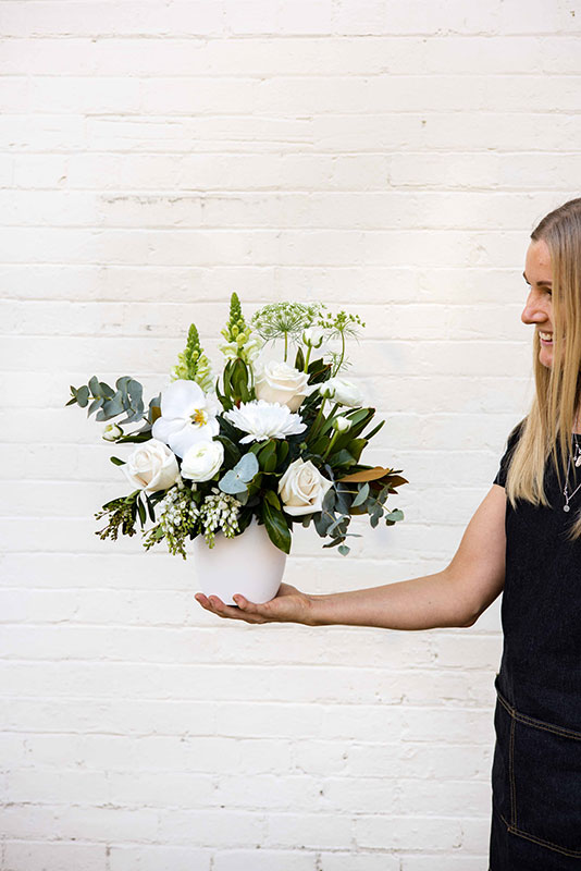 Milky Dreams White and Green Flower Arrangement