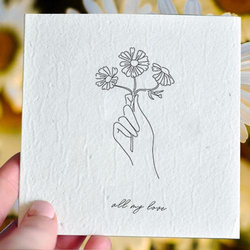 All My Love - Swann River Daisy Plantable Card